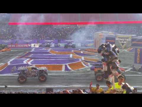 Monster Jam Foxborough  MA. Gillette Stadium  Path Of Destruction 2016 Full Intro