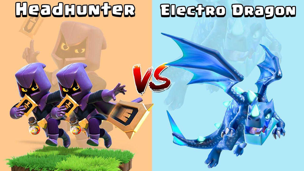 Headhunter vs Electro Dragon - Clash of Clans Gameplay