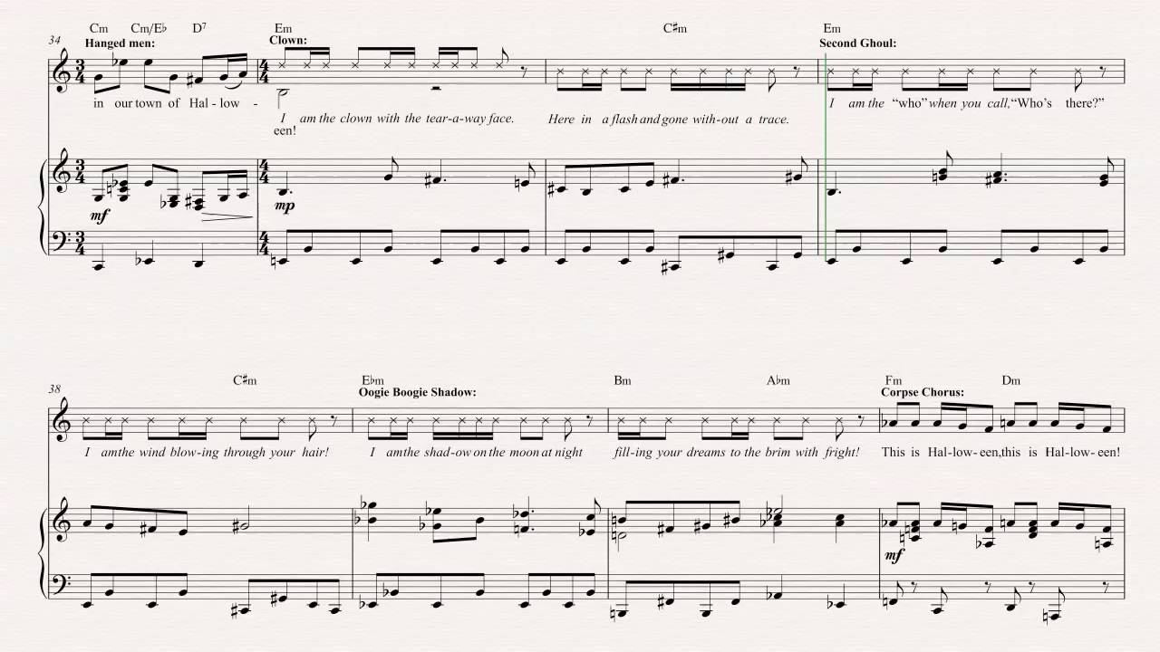 flute this is halloween the nightmare before christmas sheet music chords vocals