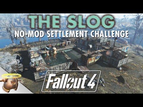 THE SLOG - NO MOD CHALLENGE Fallout 4 settlement tour & battle!