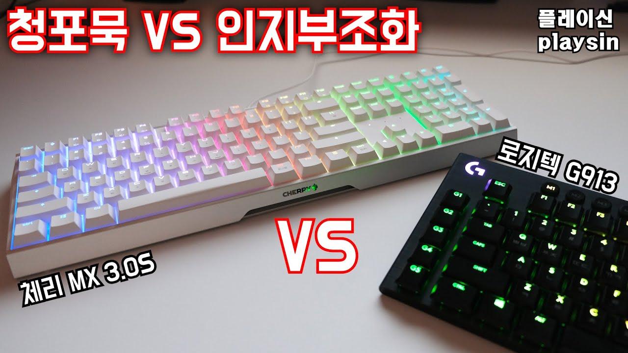 청포묵 키보드 / CHERRY MX BOARD 3.0S RGB 화이트 갈축 / playsin플레이신