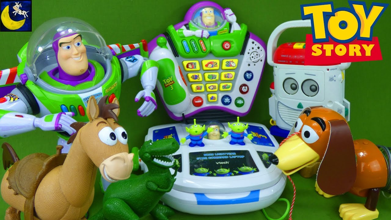 Thrift store toy haul lots of toy story toys 1 2 3 buzz lightyear vtech laptop voice changer mr - Cochon de toy story ...
