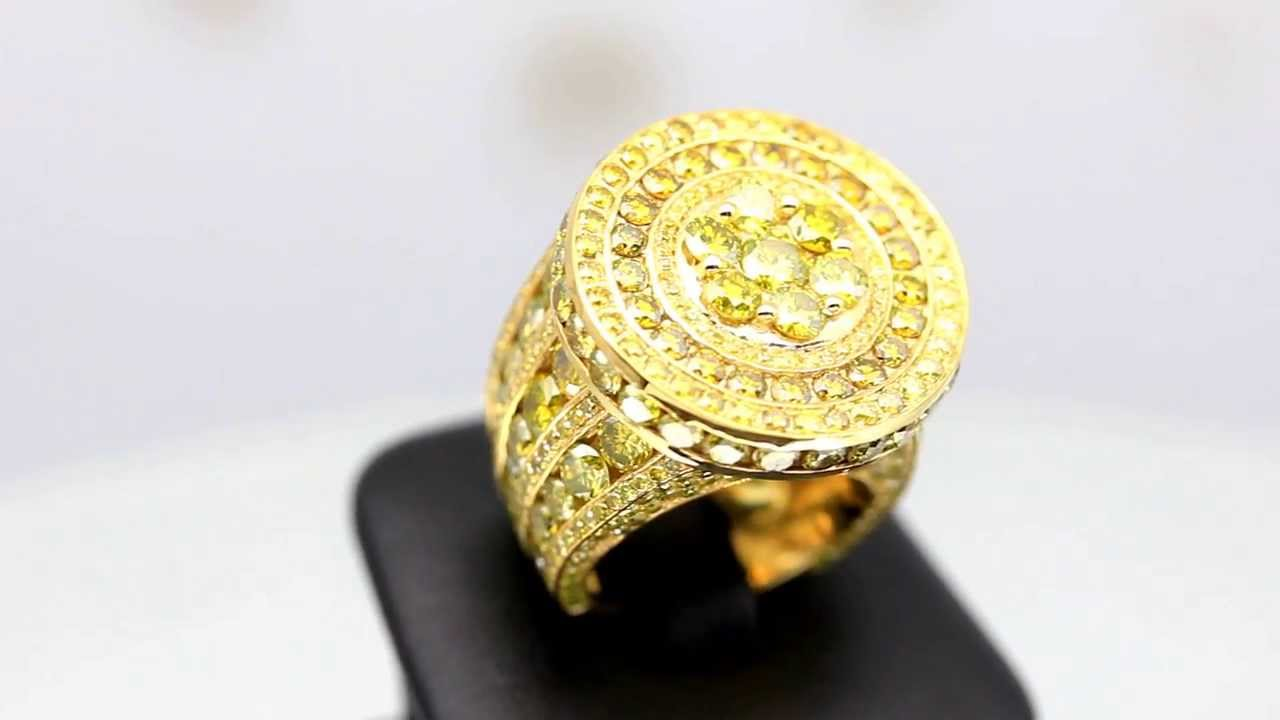 Mens 14K Solid Yellow Gold Yellow Diamond Pinky Ring 15.90 Ctw ...
