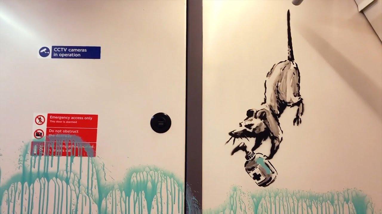 Banksy sprays coronavirus-inspired artwork on to London tube - YouTube