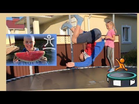 ОГРОМНЫЙ БАТУТ у нас ДОМА 5 метров Эдвин Милана Мама и Папа прыгают на батуте For KIDS