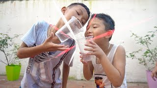 Kids go to school Play Move Water Cups by mouth | Song for Childrens