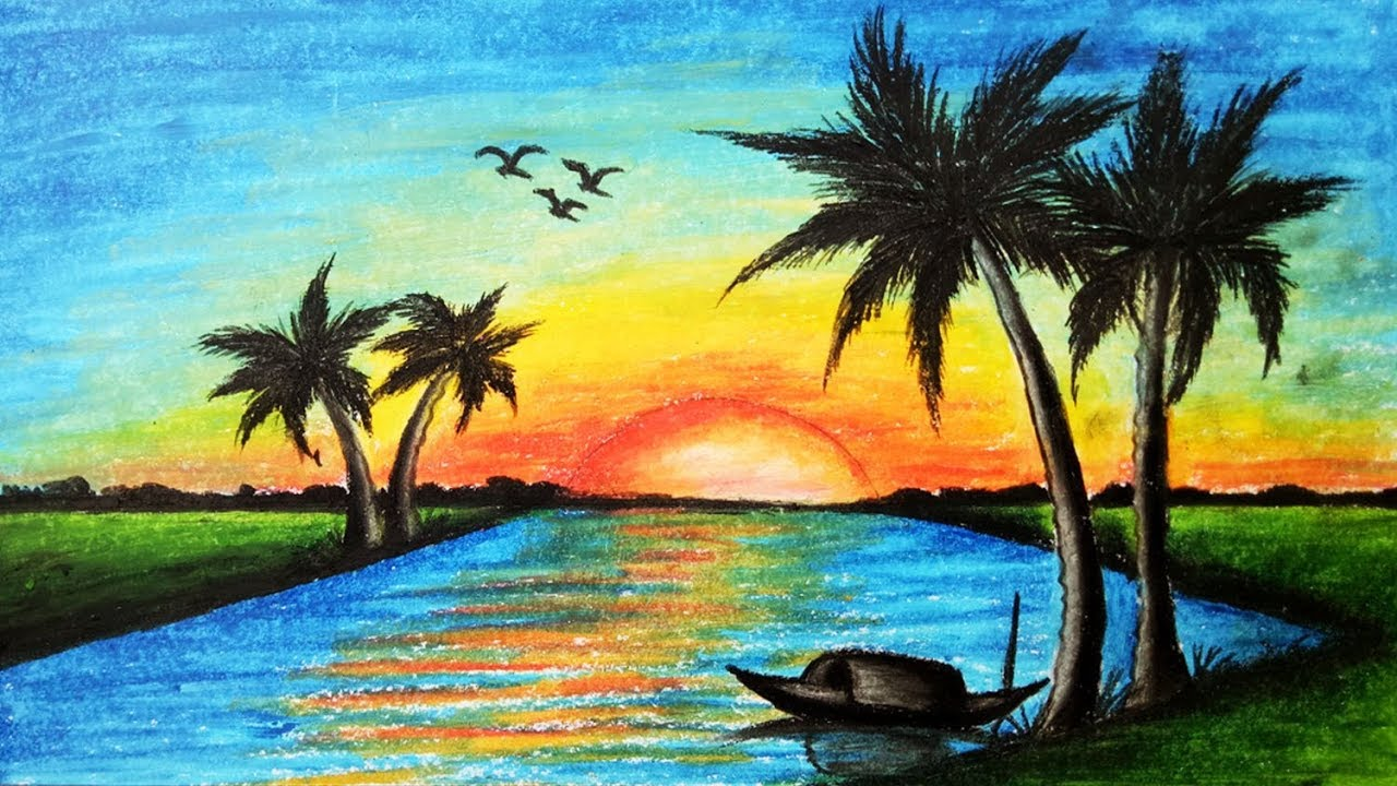 How to draw Scenery of Sunset.Step by step(easy draw ...