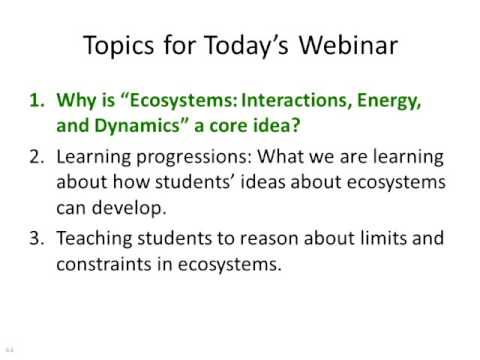 Next Generation Science Standards Core Ideas: Ecosystems: Interactions, Energy, and Dynamics