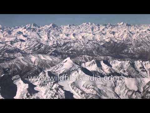 Aerial view of trans Himalayan mountain range  - Ladakh