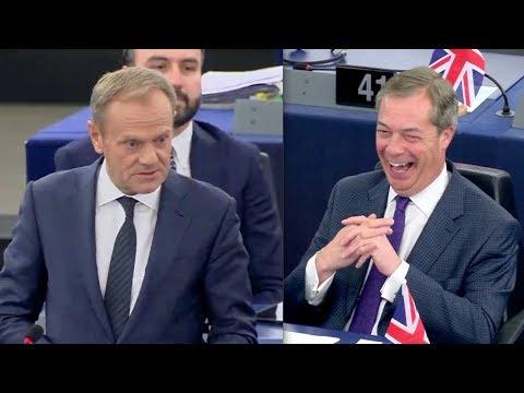 BREXIT: Nigel Farage burst out laughing as Tusk delivers brutal swipe at Verhofstadt
