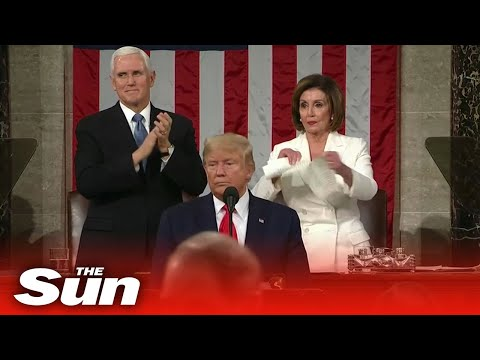 President Trump and House Speaker Pelosi exchange snubs at the State of the Union, ripping papers