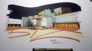 Perspectiva de una casa de noche- Arte Orta