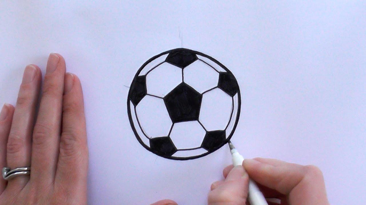 How to Draw a Cartoon Football / Soccer Ball - YouTube