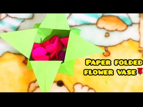 Easy folded paper flower vase for kids👈
