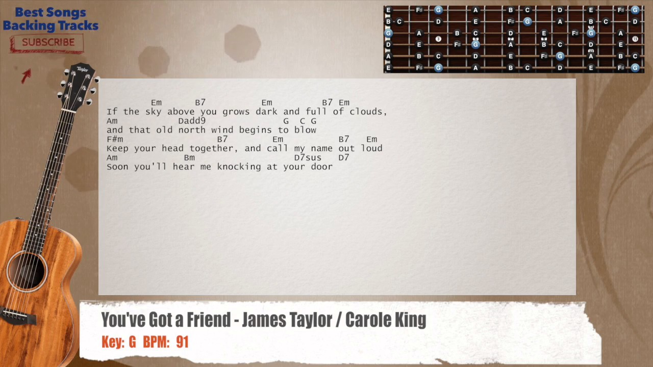 Youve Got A Friend James Taylor Carole King Guitar Backing