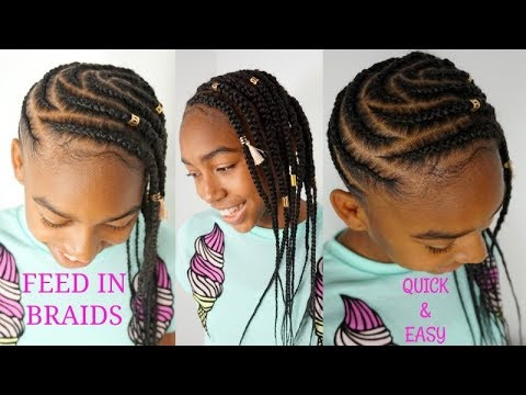 574fa12fb7597f FEED IN SIDE BRAIDS TUTORIAL | GIRLS NATURAL HAIRSTYLES [Video ...
