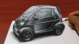 How to Draw a 3D Smart Car - Anamorphic Drawing