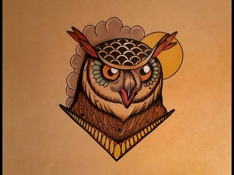 How to Draw an Owl Face Tattoo Style by thebrokenpuppet