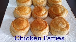 Chicken patties recipe  homemade puff pastry  how to make in oven-