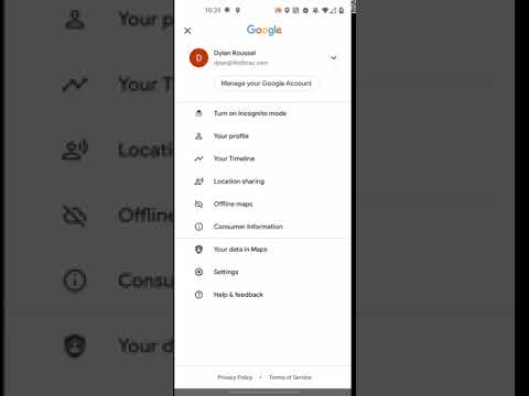 Google Account fullscreen switcher - Maps for Android