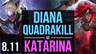DIANA vs KATARINA (MID) ~ Quadrakill, Legendary ~ EUW Master ~ Patch 8.11