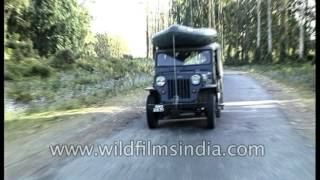Rafting expedition: Willys Jeep carries rubber dinghy for river crossing in Arunachal