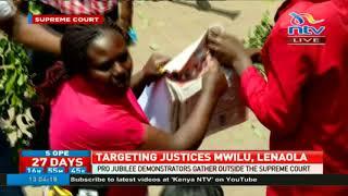 Pro Jubilee demonstrators gather outside supreme court