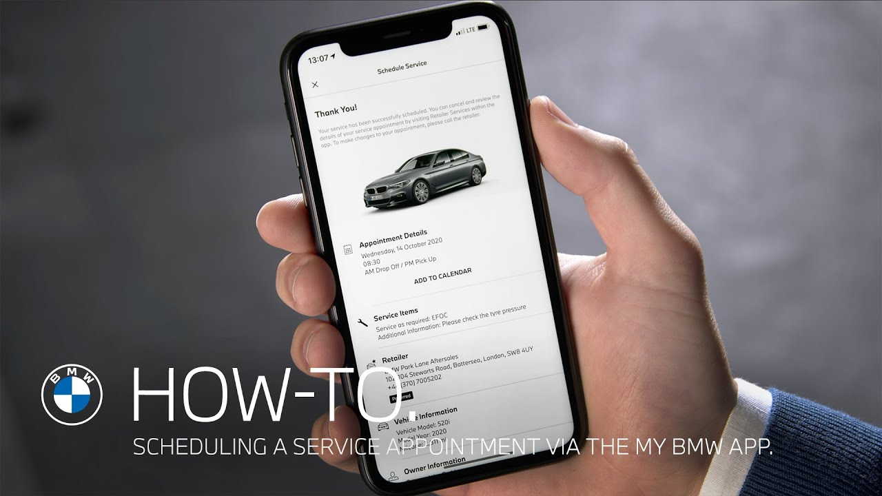 How To Schedule A Service Appointment Via The My Bmw App Bmw How To Youtube