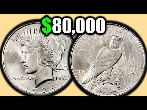 BIG SILVER DOLLAR COINS WORTH MONEY!! 1934 PEACE DOLLAR COIN VALUES