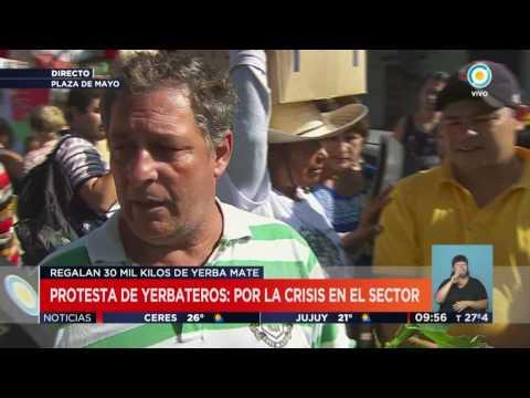 TV Pública Noticias - Protesta de Yerbateros en Plaza de Mayo: Les pagan solo 3 pesos el kilo (4)