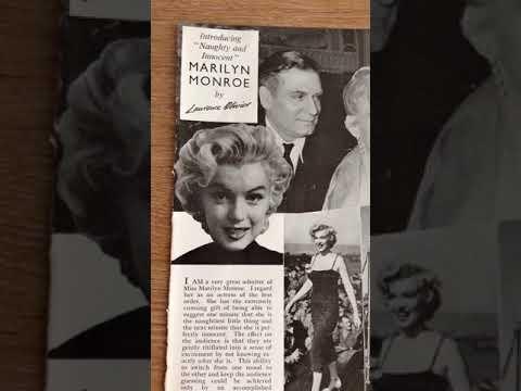 Vintage ephemera - 1956 marilyn monroe by laurence olivier