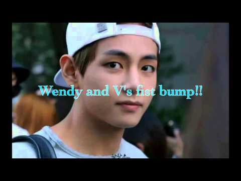 Red velvet wendy and Bts V's friendship fist bump
