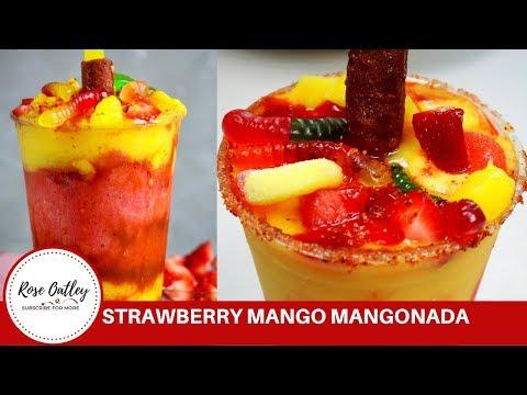 Strawberry Mango Mangonada | Mangonadas | Mexican Fruit Slushy Sorbet