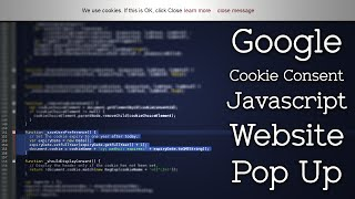 Create an EU Cookie Consent Javascript Website Pop Up