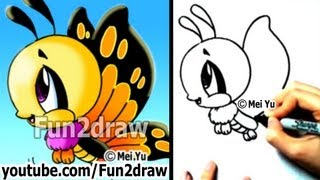 How to Draw Cartoons Easy - How to Draw a Butterfly - Cute Drawings - Fun2draw