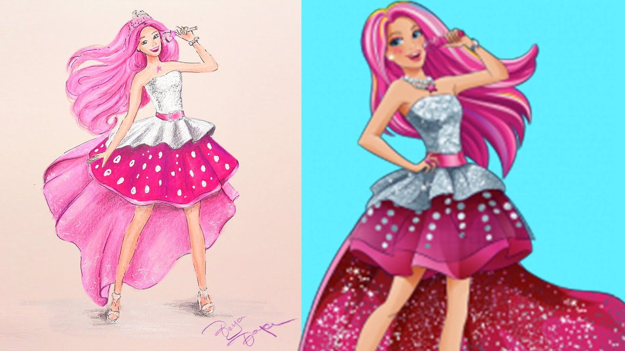 Barbie  Princesa Rockera  Boya Boya Pinta Pinta  Cmo Dibujar
