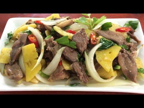 Lưỡi bò xào dứa và hành tây thơm nhon hấp dẫn, gia đình food