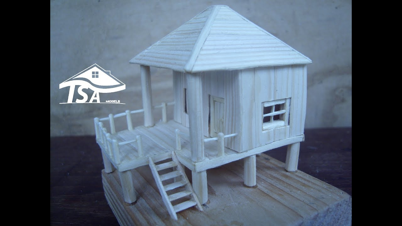 How to make a modern stilt type of house tsa wooden models