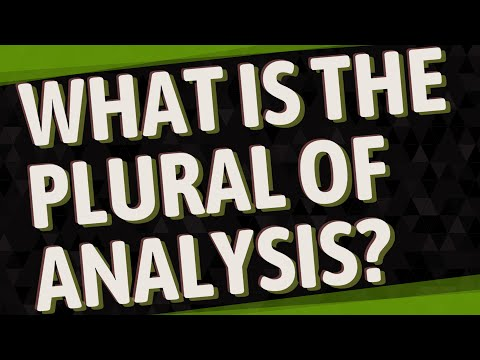 What Is The Plural Of Analysis?