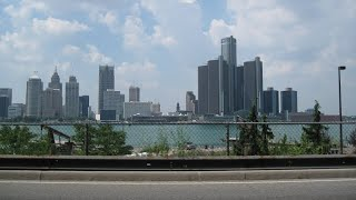 Detroit, Michigan, United States, border Windsor, Ontario, Canada, North America