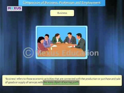 Comparison of Business, Profession and Employment