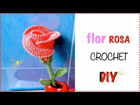 FLOR ROSA BOTÓN TEJIDO GANCHILLO CROCHET ROSE FLOWER EASY DIY