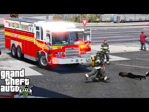 GTA 5 Play As A Firefighter Mod 42 | FDNY Rescue 1 Responding To A Huge Commercial Structure Fire