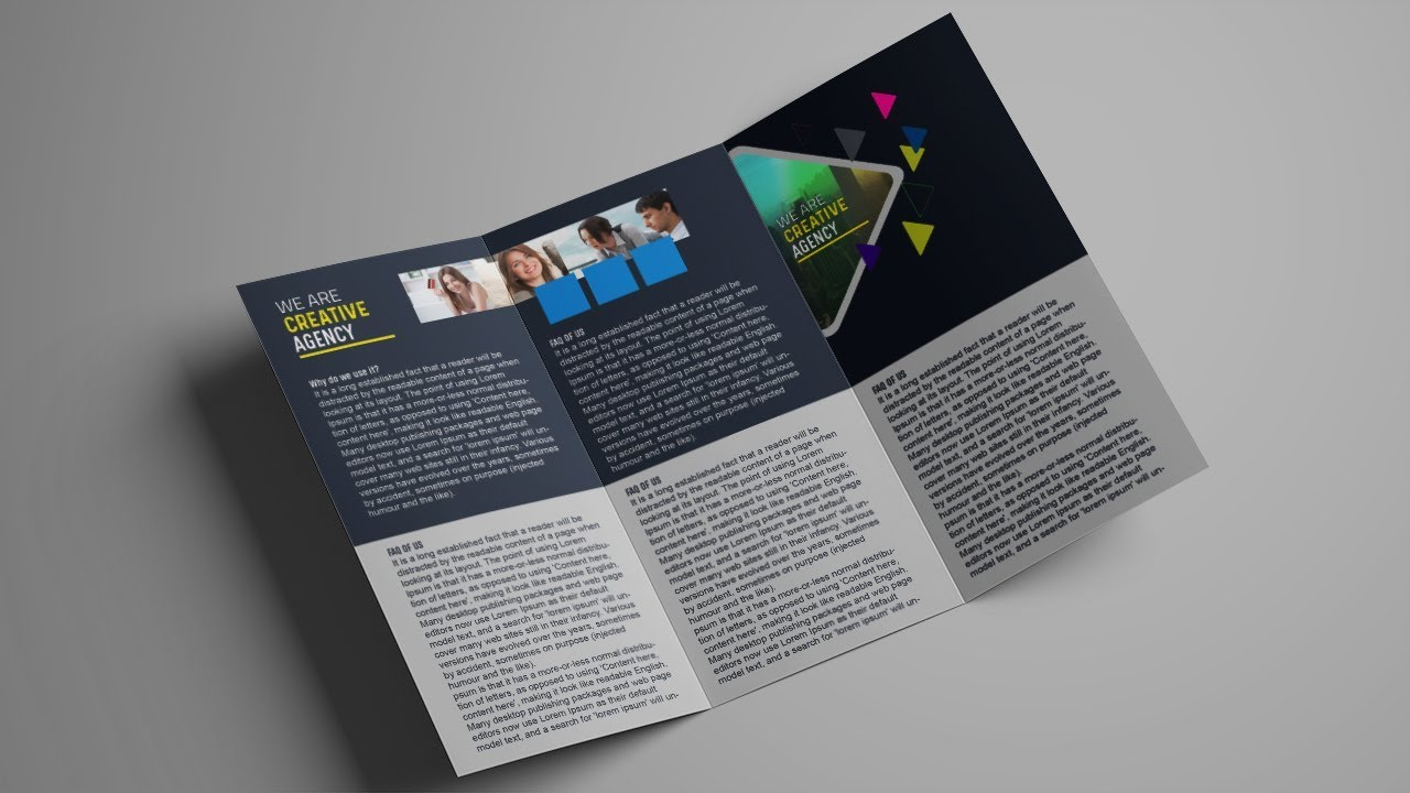 How To Design A Tri Fold Brochure Template Photoshop Tutorial