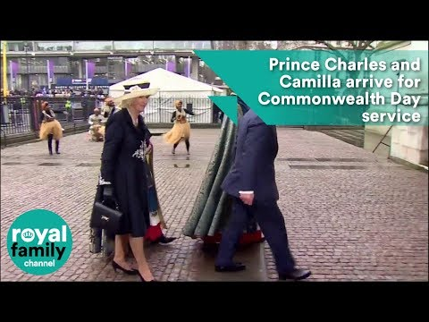 Prince Charles and Camilla arrive for Commonwealth Day Service