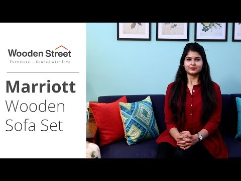 Best Sofa Set Design for Small Living Room | Marriott Wooden Sofa Set - WoodenStreet