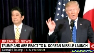 President Trump Responds To North Korea Missile Launch With Japanese President At His Side