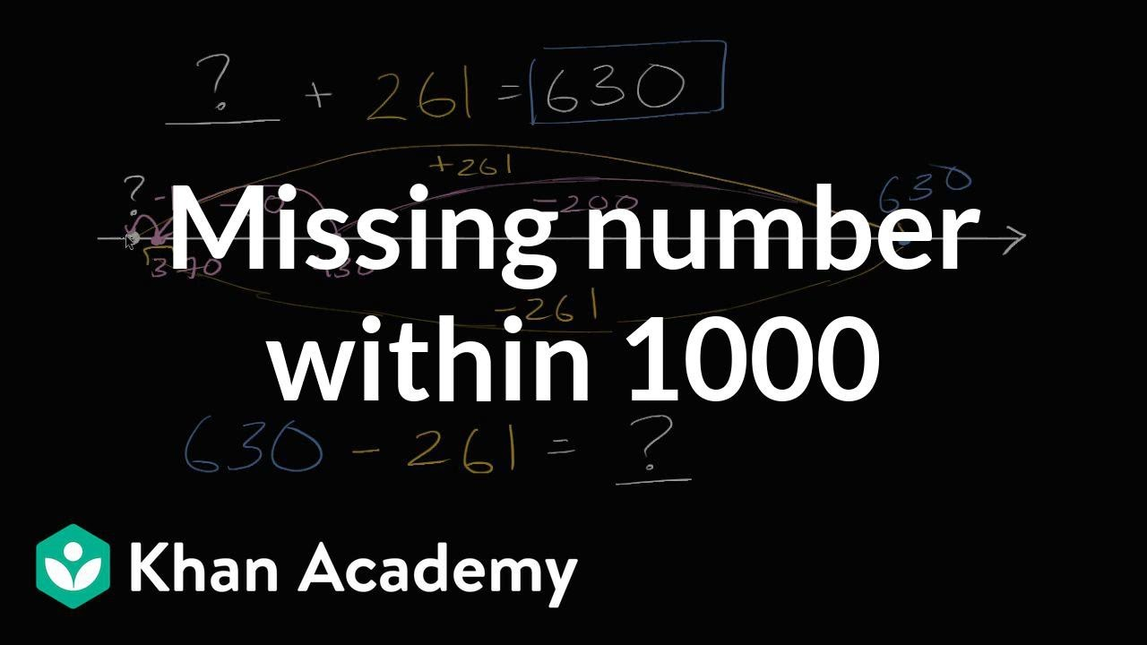 Worksheet Khan Academy Subtraction missing number for addition and subtraction within 1000 video khan academy