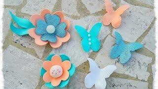 Farfalle & fiori in gomma Eva effetto 3D