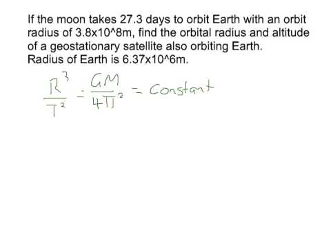Calcs involving orbit of moon, Earth's mass & geostationary satellite